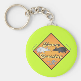 Mouse Crossing Basic Round Button Key Ring
