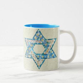 Mouse-Drawn Gem Decorated Star Of David Two-Tone Mug
