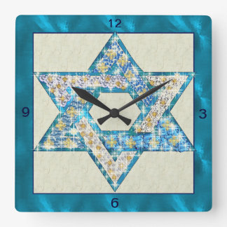 Mouse Drawn Gem Decorated Star Of David Square Wall Clock