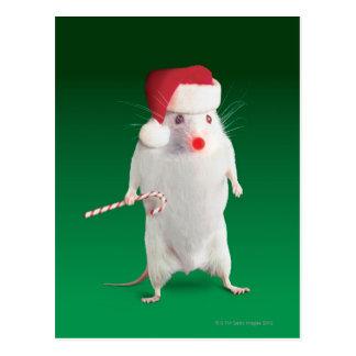 Mouse dressed as Santa Claus Postcard