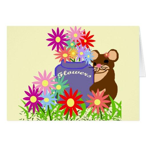Mouse flower jar blank card
