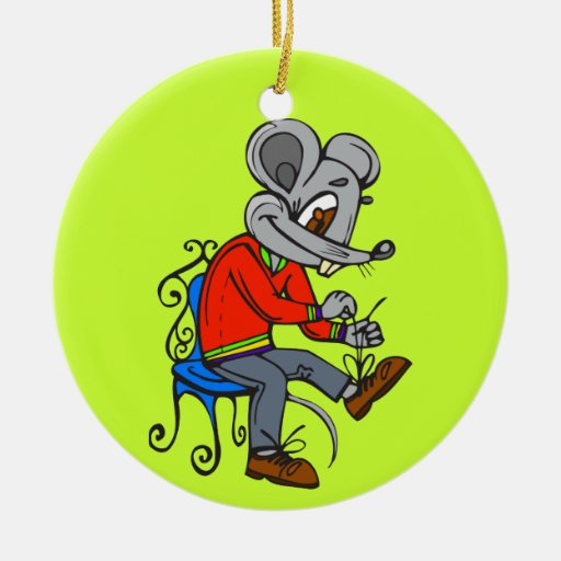 Mouse Getting Dressed Christmas Ornament