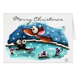 Mouse goes ski'ing card