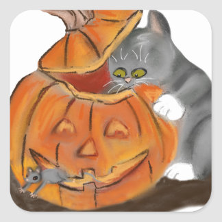 Mouse Hide and Seek in a Carved Pumpkin Square Sticker