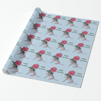 Mouse Holding a Big Pink Rose: Illustration Wrapping Paper