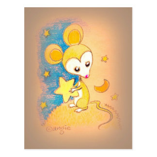 Mouse Holding A Star Postcard