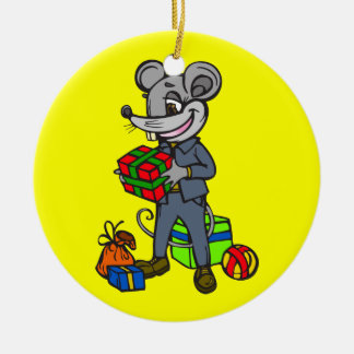 Mouse Holding Gifts Round Ceramic Decoration