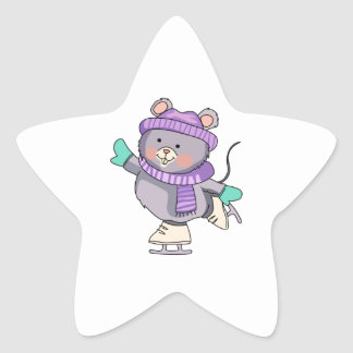 MOUSE ICE SKATING STAR STICKERS