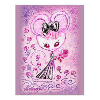 Mouse in Black Evening Gown With Rose Postcard