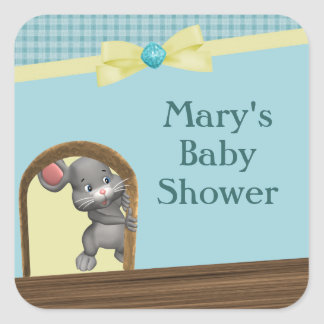 Mouse In House Baby Shower, Green & Yellow Square Sticker