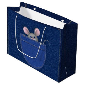 Mouse in Pocket Large Gift Bag