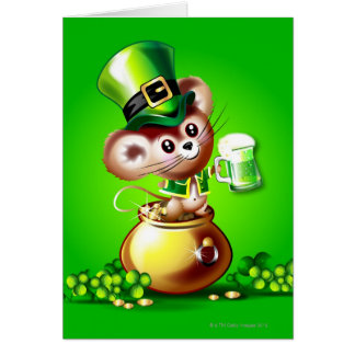 Mouse in pot of gold holding pint of green beer card