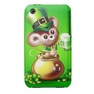 Mouse in pot of gold holding pint of green beer Case-Mate iPhone 3 cases