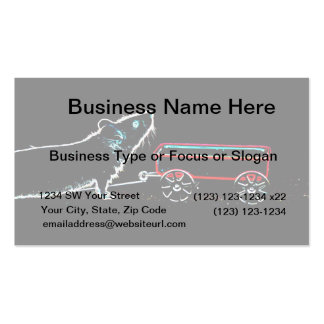 mouse lifting up by wagon outline cute animal business card