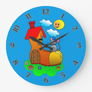 Mouse Living in a Shoe / Boot Large Clock