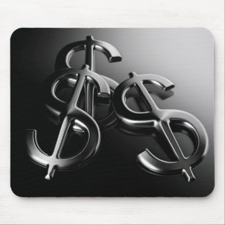 Mouse mat on black bottom finances and dollar