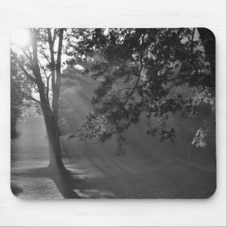 Mouse Pad - Flat. Misty Forest in Monochrome