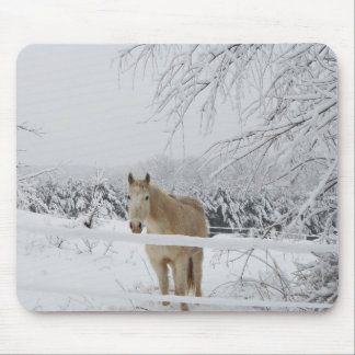 mouse pad horse winter scenery