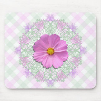 Mouse Pad - Medium Pink Cosmos on Lace & Lattice