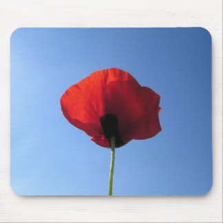Mouse Pad - Red Poppy Blue Sky