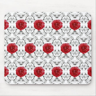 Mouse Pad - Red Roses Black Scrollwork