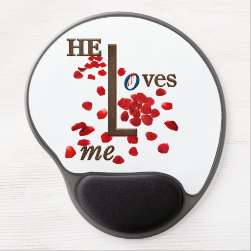 mouse pad with love message on red rose petals gel mousepads