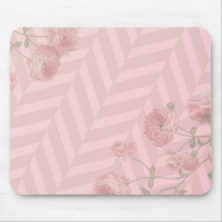 Mouse pad with vintage pink rose graphics
