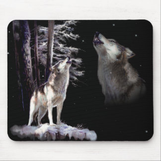Mouse Pad Wolf Howling with Imagery of his Mate