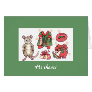 Mouse paper doll Christmas card