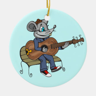Mouse Playing Guitar Round Ceramic Decoration