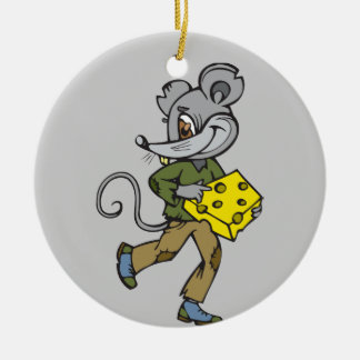 Mouse Runs With Cheese Christmas Tree Ornament