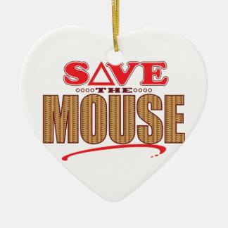 Mouse Save Ceramic Heart Decoration