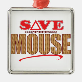 Mouse Save Silver-Colored Square Decoration