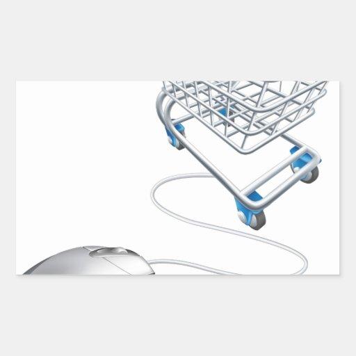 Mouse shopping cart rectangular sticker