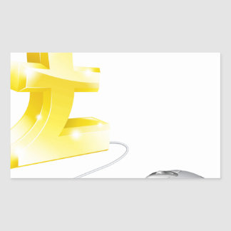 Mouse shopping cart rectangle stickers