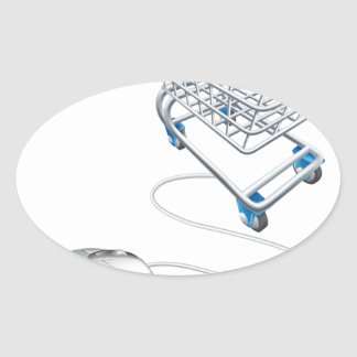 Mouse shopping cart oval sticker