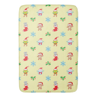 Mouse, snowman, teddy and elf Christmas pattern Bath Mat