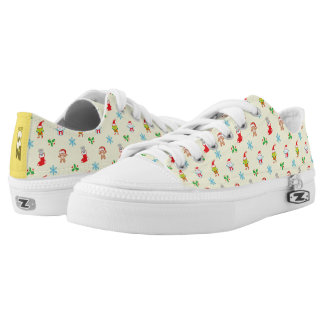 Mouse, snowman, teddy and elf Christmas pattern Low Tops