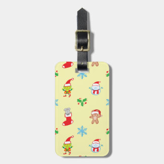 Mouse, snowman, teddy and elf Christmas pattern Luggage Tag