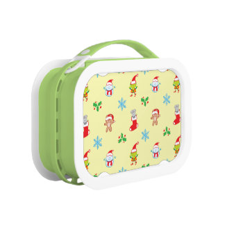 Mouse, snowman, teddy and elf Christmas pattern Lunch Box