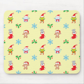 Mouse, snowman, teddy and elf Christmas pattern Mouse Pad