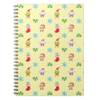 Mouse, snowman, teddy and elf Christmas pattern Notebook