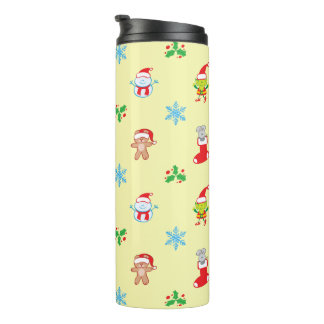Mouse, snowman, teddy and elf Christmas pattern Thermal Tumbler