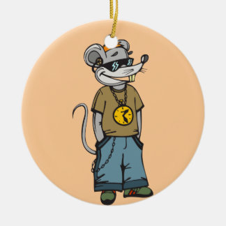 Mouse Teenager Round Ceramic Decoration