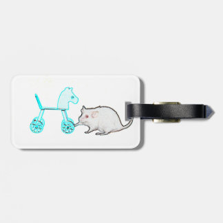 mouse touching blue horse outline animal luggage tag
