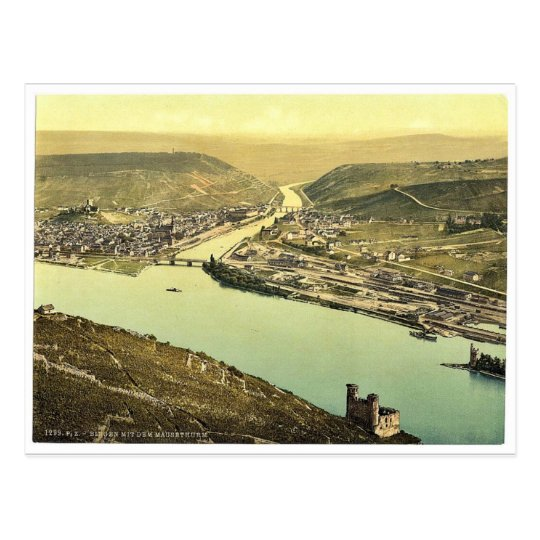 Mouse Tower and Rossel, Bingen, the Rhine, Germany Postcard