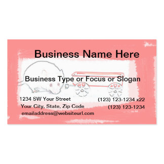 mouse wagon outline with red cute animal business card template