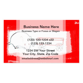 mouse wagon outline with red cute animal business card