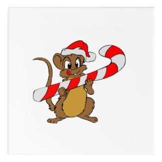 Mouse with a Christmas candy cane Acrylic Print