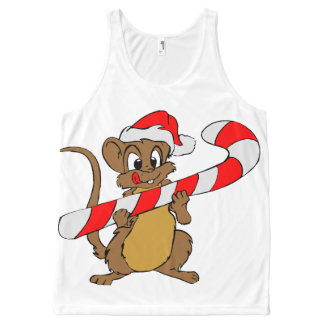 Mouse with a Christmas candy cane All-Over Print Singlet